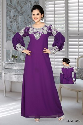 Purple Faux Georgette Embroidered Kaftans