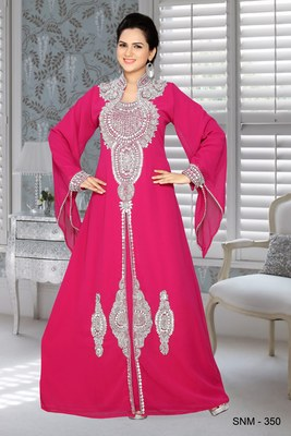 Fuchsia Pink Faux Georgette Embroidered Kaftans