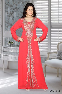 Coral Faux Georgette Embroidered Kaftans