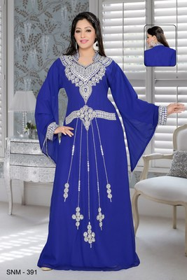 Royal blue faux georgette embroidered kaftans