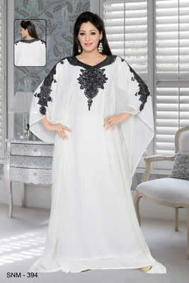 Off white faux georgette embroidered farasha