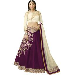 Violet embroidered silk unstitched lehenga with dupatta