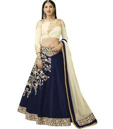 Buy Navy blue embroidered art silk unstitched lehenga with dupatta party-lehenga online