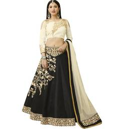 Black embroidered art silk unstitched lehenga with dupatta