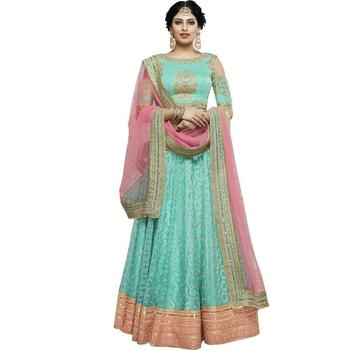 Sky blue embroidered net unstitched lehenga with dupatta