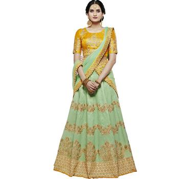 Lime embroidered silk unstitched lehenga with dupatta