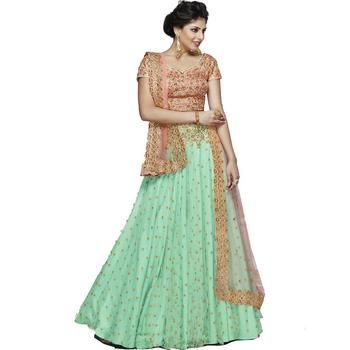 Light green embroidered net unstitched lehenga with dupatta