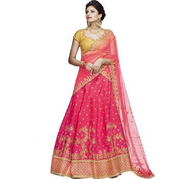 Rani pink embroidered silk unstitched lehenga with dupatta