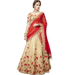 Buy Cream embroidered silk unstitched lehenga with dupatta wedding-lehenga online