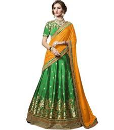 Buy Green embroidered brocade unstitched lehenga with dupatta wedding-lehenga online
