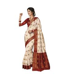 White woven art dupion silk saree with blouse