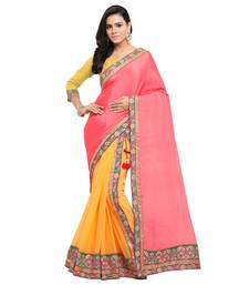 Buy Pink embroidered satin saree with blouse lehenga-saree online