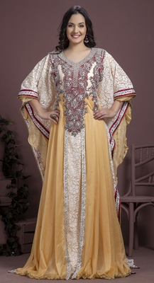 Off White And Maroon Georgette And Crepe Sequins And Stones Islamic Kaftans