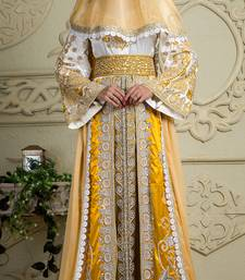 Yellow And White Crepe And Silk And Georgette And Satin And Net Sequins And Stones Islamic Kaftans
