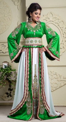 Green and off white crepe and silk and georgette and satin sequins and stones islamic kaftans
