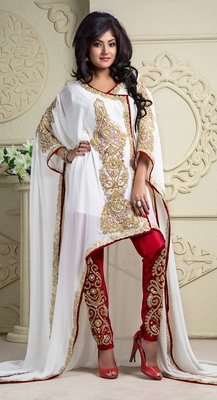 Maroon and off white crepe and silk and georgette sequins and stones islamic kaftans