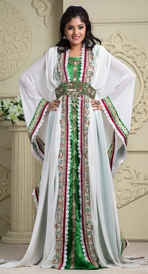 White and green crepe and silk and georgette sequins and stones islamic kaftans