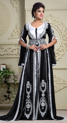 Black Crepe And Silk And Georgette Sequins And Stones Islamic Kaftans