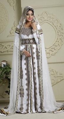 Brown and white crepe and silk and georgette and satin and net sequins and stones islamic kaftans