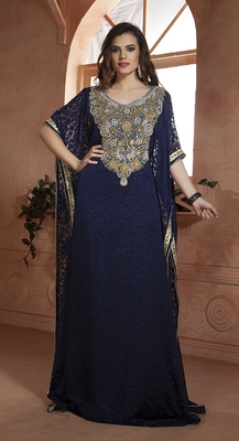 Dark Blue Crepe And Brasso Resham And Sequins And Lace And Stones Islamic Kaftans