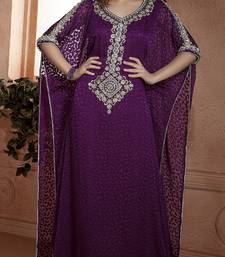 Dark Magenta Crepe And Brasso Resham And Sequins And Lace And Stones Islamic Kaftans