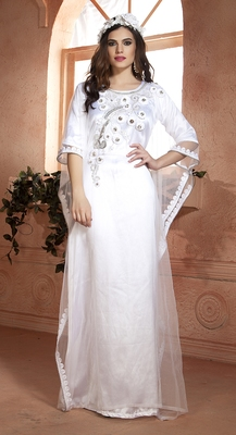 White Net And Crepe Sequins And Ribbon Work And Thread Work Islamic Kaftans