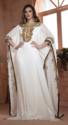 Off White Crepe And Brasso Stones And Sequins And Lace And Resham Islamic Kaftans