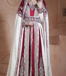 Off white and maroon crepe and georgette and silk and brasso stones and sequins and lace and resham islamic kaftans