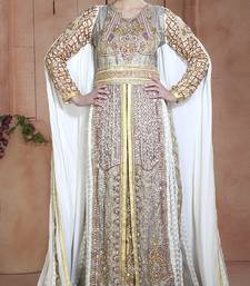 Gold and off white and gray crepe and brasso stones and sequins and lace and resham islamic kaftans