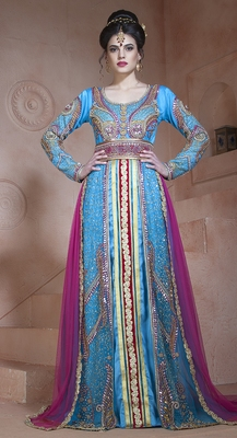 Fiorgi and dark pink velvet and net and silk stones and sequins and lace and resham islamic kaftans
