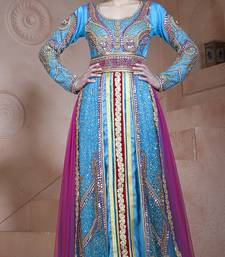 Fiorzi and dark pink velvet and net and silk stones and sequins and lace and resham islamic kaftans