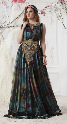 Mutli Color And Black Satin And Net Stones And Sequins And Lace And Resham Islamic Kaftans
