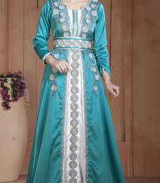 Dark See Green And White Silk Thread Work And Lace Islamic Kaftans
