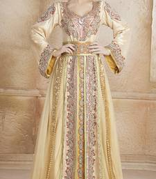 Gold Crepe And Brocade Stone And Lace Work Islamic Kaftans