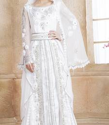 White Satin Silk And Net Stones And Sequins And Lace And Resham And Ribbon Work Islamic Kaftans
