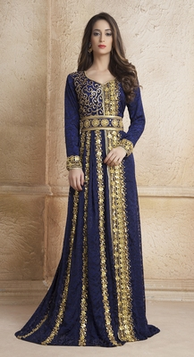 Crepe Dark blue stone and lace work islamic kaftans
