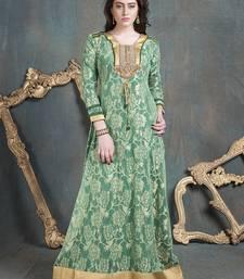 Buy See green rasal and french crepe stones islamic kaftans islamic-kaftan online
