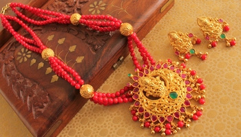 Beautiful Matte Finish Lakshmi Coral Necklace Set