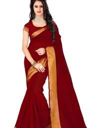 Buy maroon woven cotton silk saree with blouse bangalore-silk-saree online