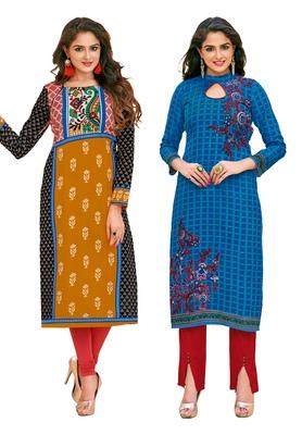 Multicolor Printed 2 Cotton Unstithced Kurti