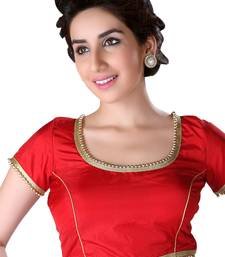 red tapeta silk lace unstitched blouse