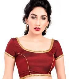 Buy maroon tapeta silk lace unstitched blouse women-ethnic-wear online