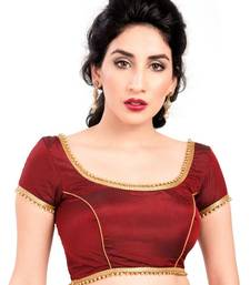 Buy maroon tapeta silk lace unstitched blouse blouse-fabric online