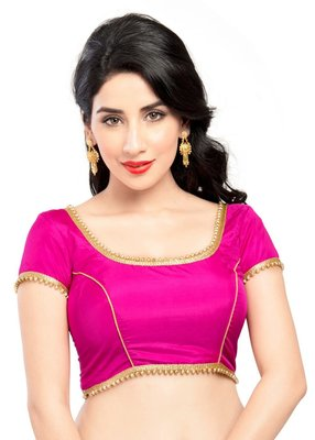 pink tapeta silk lace unstitched blouse