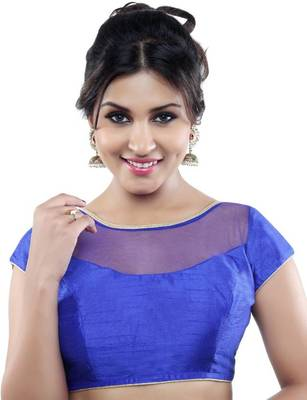 royal blue banglory net unstitched blouse