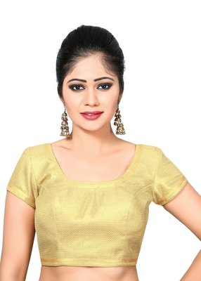 gold banglory net unstitched blouse