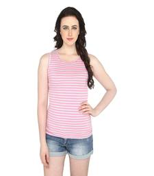 Buy Pink women's round neck striped casual t shirt party-top online