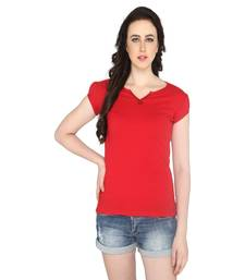 Buy Red women's v neck solid casual t shirt party-top online