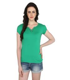 Buy Green women's v neck solid casual t shirt party-top online