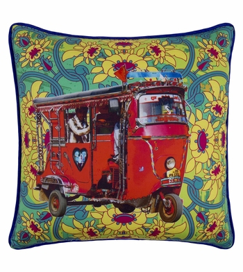 Red Taxi Glaze Cotton Cushion Cover 16x16 Inches